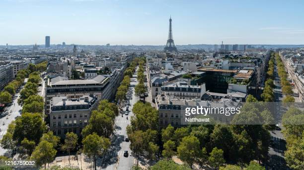 aerial view of streets of paris, france - パリ凱旋門 ストックフォトと画像