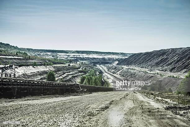 aerial view of strip coal mining field - cottbus stock pictures, royalty-free photos & images