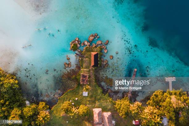 aerial view of stromatolites at laguna bacalar, mexico - yucatan peninsula stock pictures, royalty-free photos & images