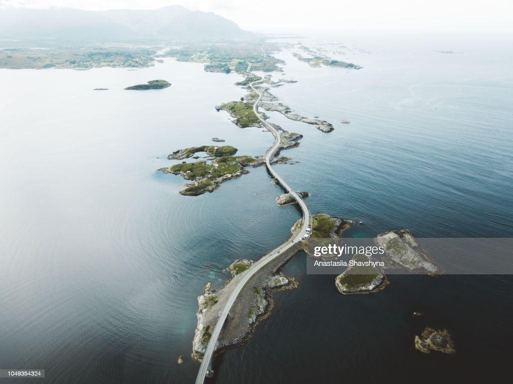 Aerial view of stunning bridge road and small islands in the sea in Norway : Stock Photo