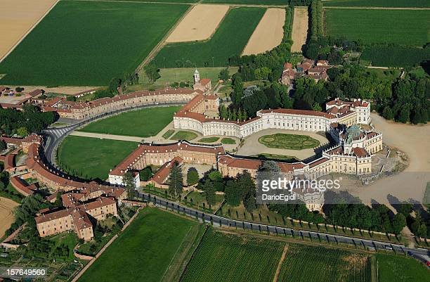 aerial view of stupinigi palace, sunny day, turin, piedmont - stupinigi stock photos and pictures