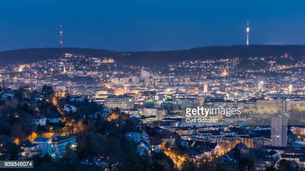 Aerial view of Stuttgart at twilight