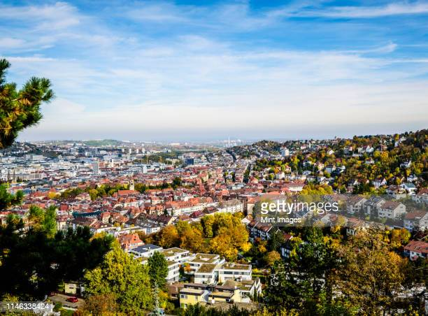 aerial view of stuttgart cityscape, baden wurttemberg, germany - stuttgart stock pictures, royalty-free photos & images