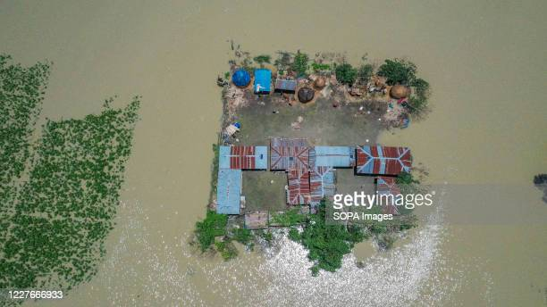 Aerial view of submerged houses and crop fields in Bogura. One third of Bangladesh is under water after heavy rains hit the nation. At least 1.5...