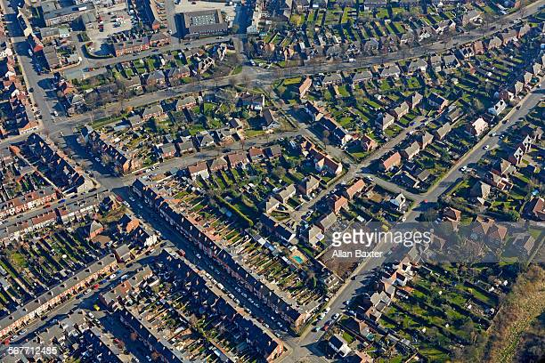 aerial view of suburb of nottingham - nottingham stock pictures, royalty-free photos & images