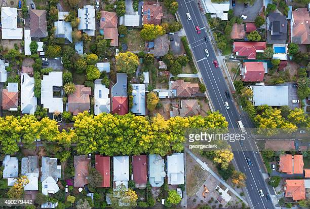 aerial view of suburb - town stock pictures, royalty-free photos & images