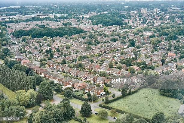 Aerial view of suburban area, Altrincham, Cheshire, England