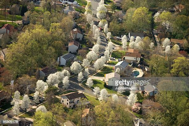 aerial view of suburban baltimore, maryland - baltimore maryland - fotografias e filmes do acervo