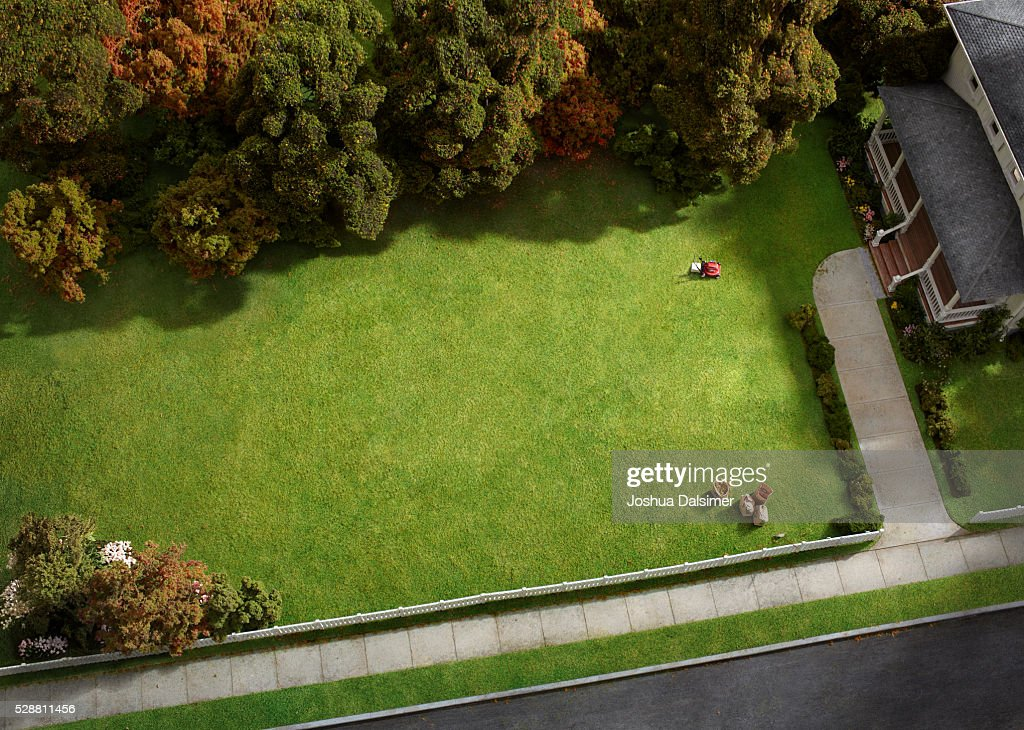Aerial view of suburban home. : Stock Photo
