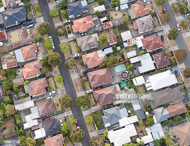 aerial view of suburban melbourne streets - melbourne australia stock pictures, royalty-free photos & images