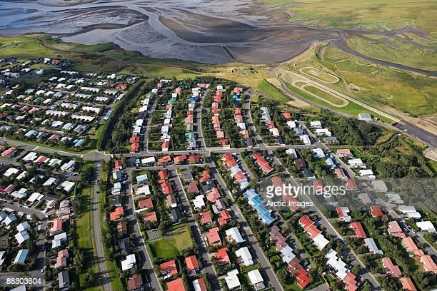 Aerial view of suburban neighborhood, Mosfellsbaer, Iceland