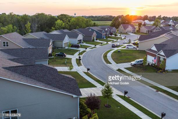 aerial view of suburban neighborhood - paradise stock pictures, royalty-free photos & images