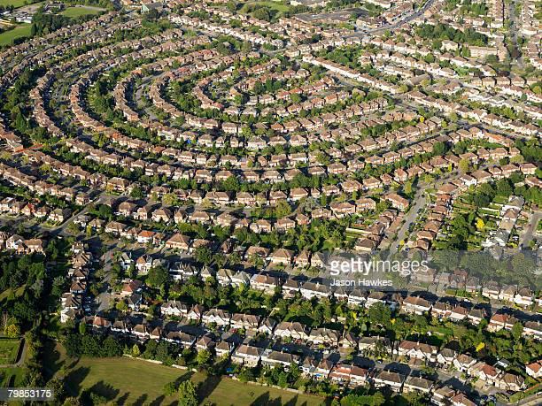 Aerial view of suburban residential housing on September 11 2007 in London