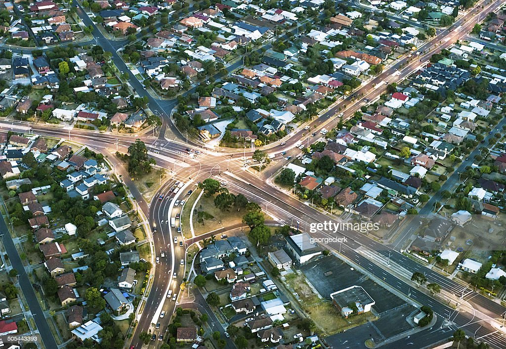 Aerial View of Suburban Streets : Stock Photo