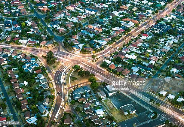 aerial view of suburban streets - melbourne australia stock pictures, royalty-free photos & images