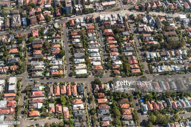 aerial view of suburban sydney, australia - suburban stock pictures, royalty-free photos & images