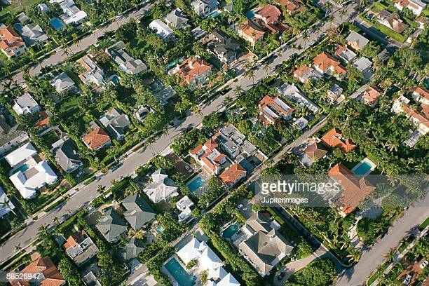 Aerial view of suburban West Palm Beach, Florida