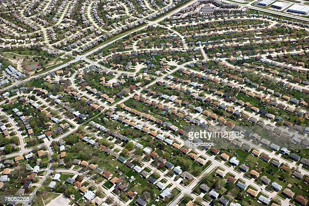 Aerial view of suburbia in Omaha, Nebraska