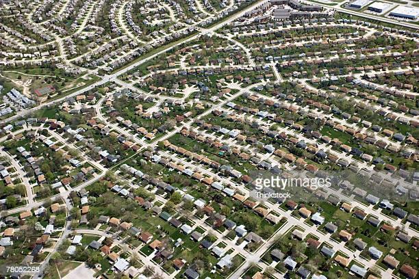 aerial view of suburbia in omaha, nebraska - nebraska stock pictures, royalty-free photos & images