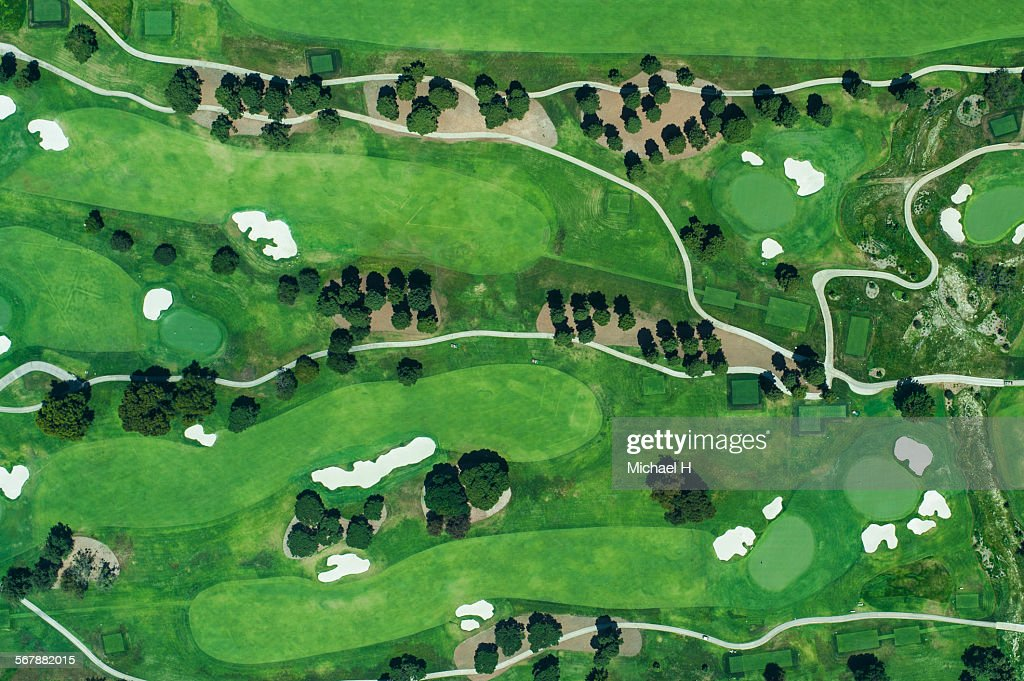 Aerial view of suburbian housing and golf courses : Stock Photo