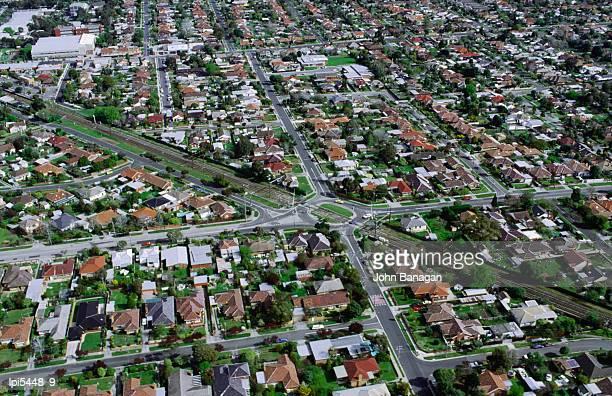 Aerial view of suburbs, Melbourne, Australia