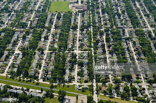 Aerial view of suburbs, Winnipeg, Manitoba, Canada