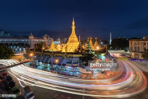 Aerial view of Sule Pagoda in Yangon, Myanmar