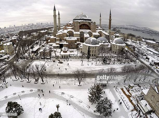 Aerial view of Sultanahmet Square and Hagia Sophia in a snowy winter day in Istanbul Turkey on Februay 19 2015