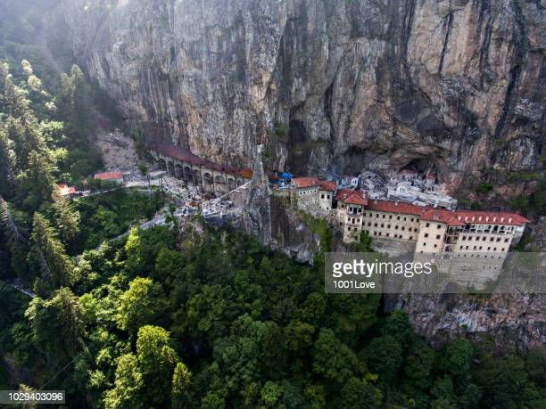 aerial view of sumela monastery in trabzon, turkey. - trabzon stock photos and pictures