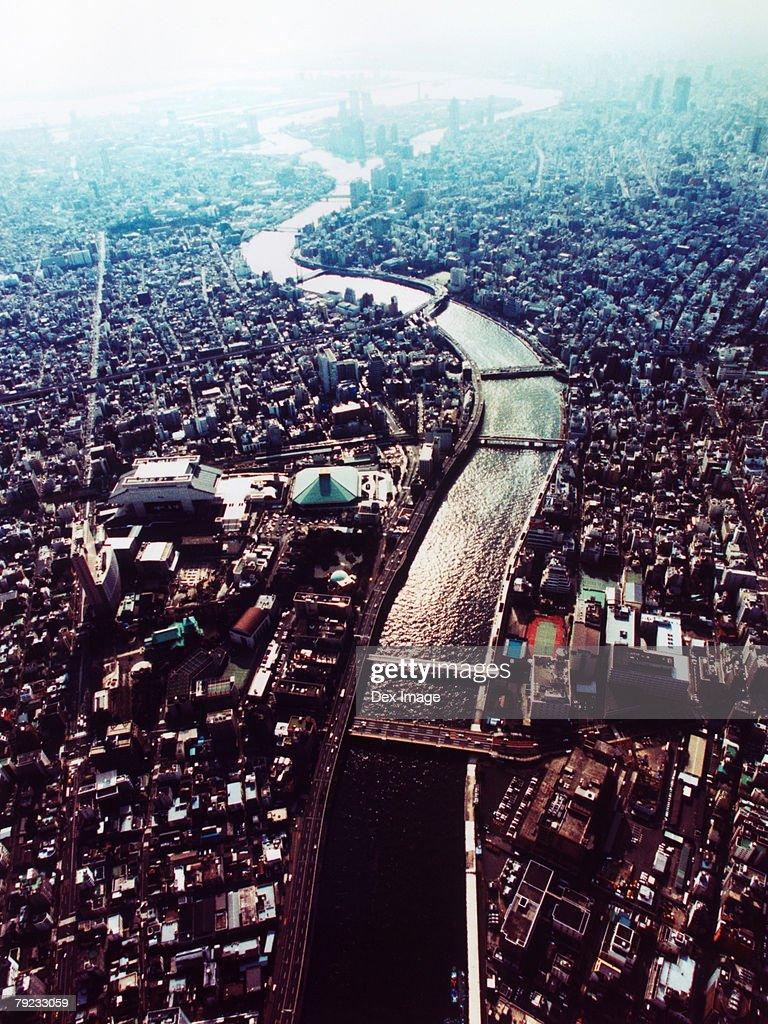 Aerial View of Sumida-ku, Tokyo, Japan : Stock Photo