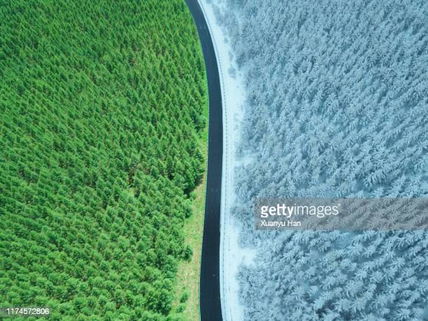 aerial view of summer and winter creative landscape - four seasons stock pictures, royalty-free photos & images