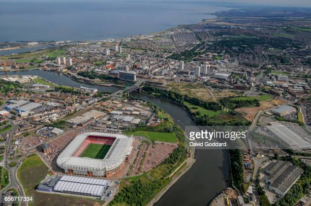 Aerial view of Sunderland and the Stadium of Light on the northern bank of the river Wear on August 04, 2008 .Home ground of Sunderland Association...