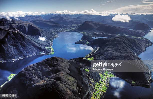 Aerial view of Sunmore deep fjords and mountains