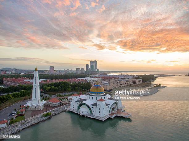 Aerial view of sunrise at Floating Mosque Malacca