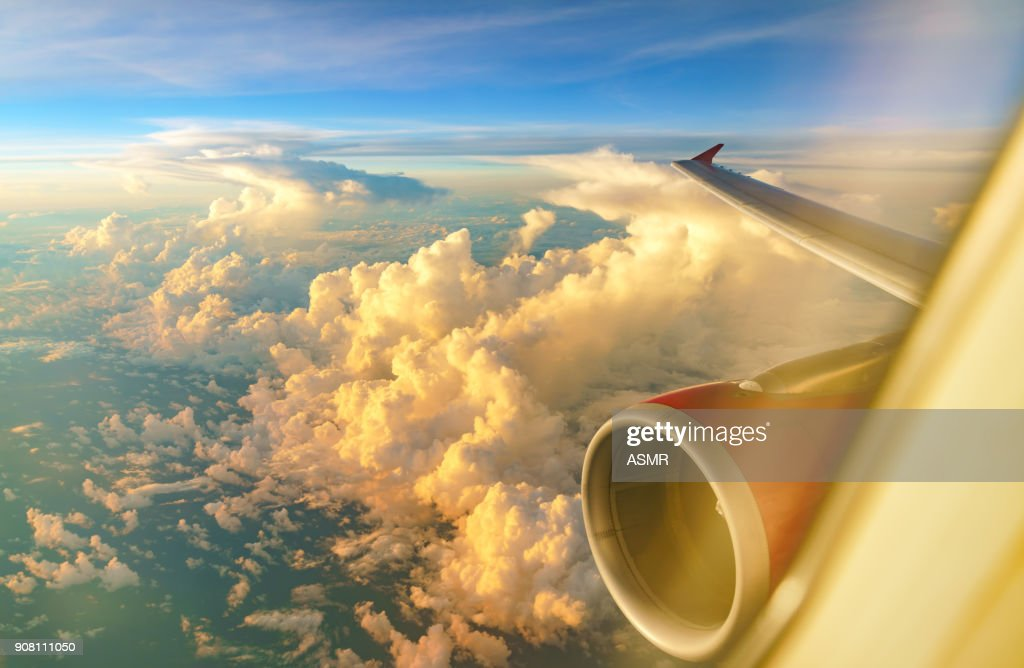 Aerial view of sunrise clouds from the sky : Stock Photo