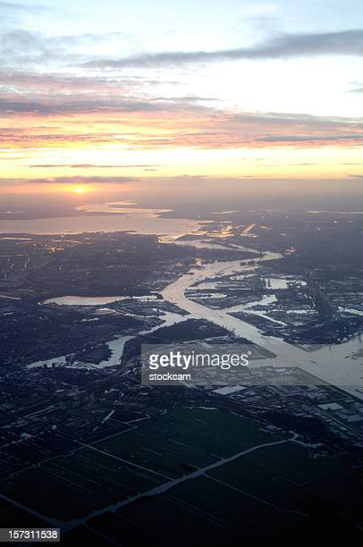 Aerial view of sunrise over Amsterdam, Netherlands