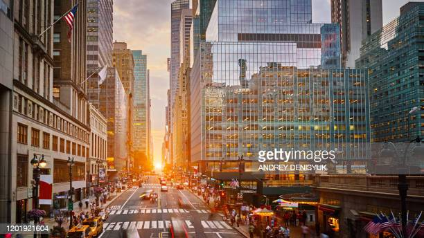 aerial view of sunset at 42nd street new york - avenue stock pictures, royalty-free photos & images