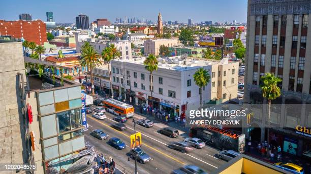 aerial view of sunset boulevard - hollywood boulevard stock pictures, royalty-free photos & images