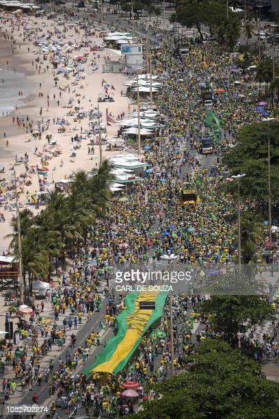 Aerial view of supporters of Brazilian farright presidential candidate Jair Bolsonaro attending a rally in Copacabana beach Rio de Janeiro Brazil on...