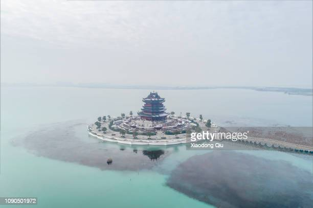 aerial view of suzhou chongyuan temple after blizzard - suzhou stock pictures, royalty-free photos & images