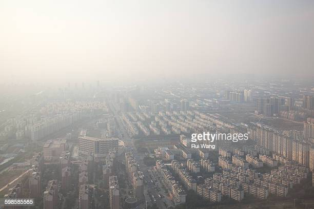 Aerial view of Suzhou in dust day