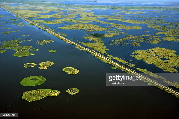 aerial view of swamplands on mississippi river, new orleans, louisiana - mississippi river stock pictures, royalty-free photos & images