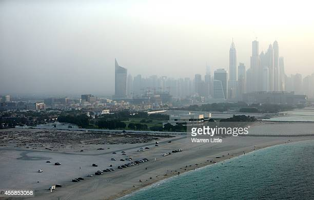 A aerial view of swimmers on a local beach on September 17 2014 in Dubai United Arab Emirates