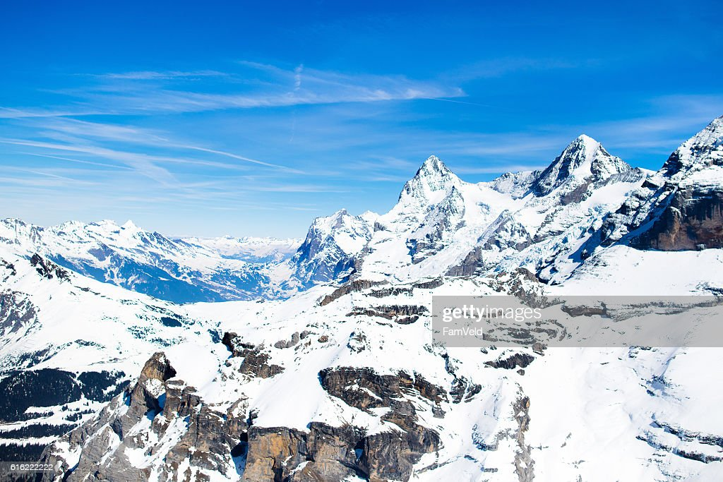 Aerial view of Swiss Alps from helicopter : Photo