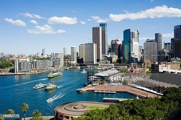 Aerial View of Sydney and Circular Quay City Skyline Australia