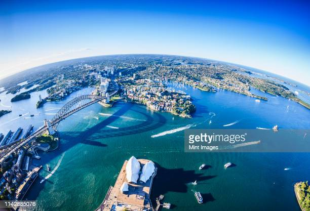 aerial view of sydney cityscape, sydney - pacific ocean stock pictures, royalty-free photos & images