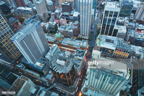 aerial view of sydney downtown - financial district stock pictures, royalty-free photos & images