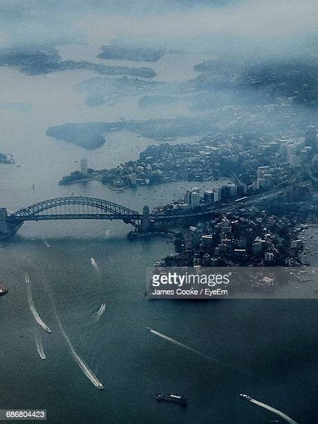 Aerial View Of Sydney Harbor Bridge Over River During Foggy Weather