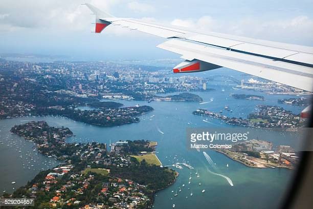 Aerial view of Sydney harbor from a plane