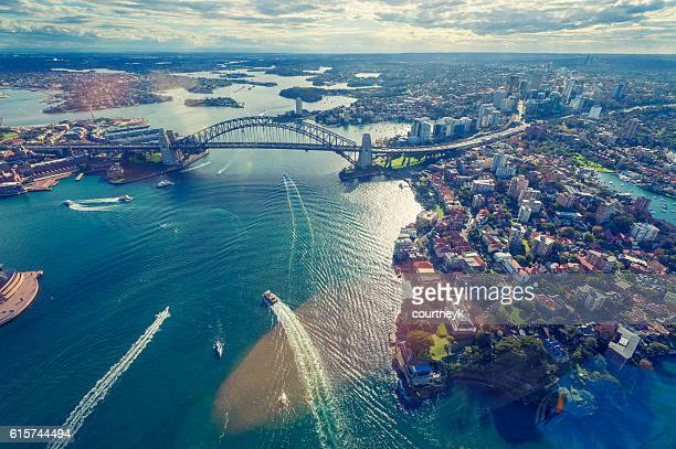 aerial view of sydney harbor in australia - sydney stock pictures, royalty-free photos & images